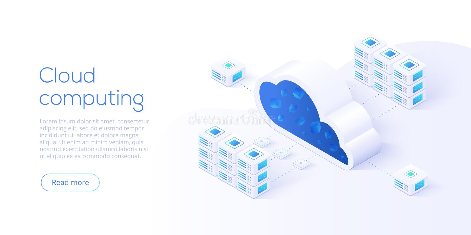 Cloud storage download isometric vector illustration. Digital se. Rvice or app with data transfering. Online computing technology. 3d servers and datacenter stock illustration