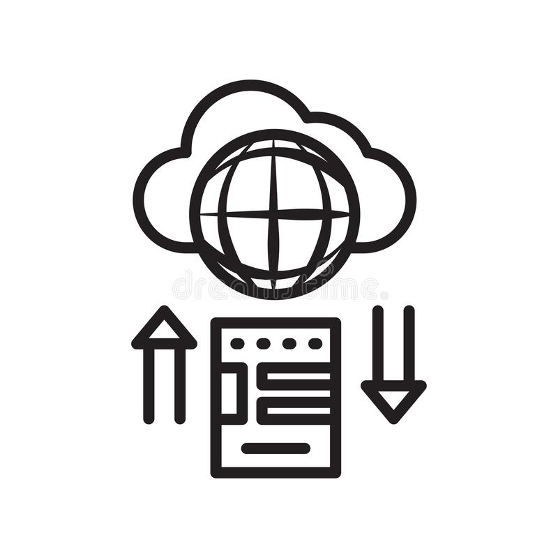 Cloud storage icon vector sign and symbol isolated on white back royalty free illustration