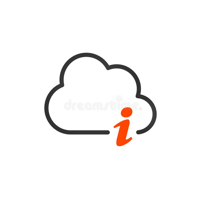 Cloud storage information or letter i linear icon. Thin line illustration. Web hosting info. . Vector illustration isolated on vector illustration