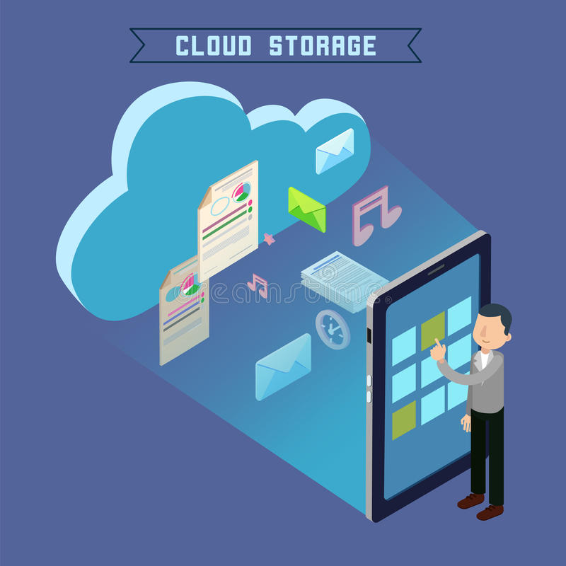 Cloud Storage Isometric Computer Technology. Cloud Storage. Isometric Computer Technology. Man Uploading Files to the Repository. Vector illustration royalty free illustration