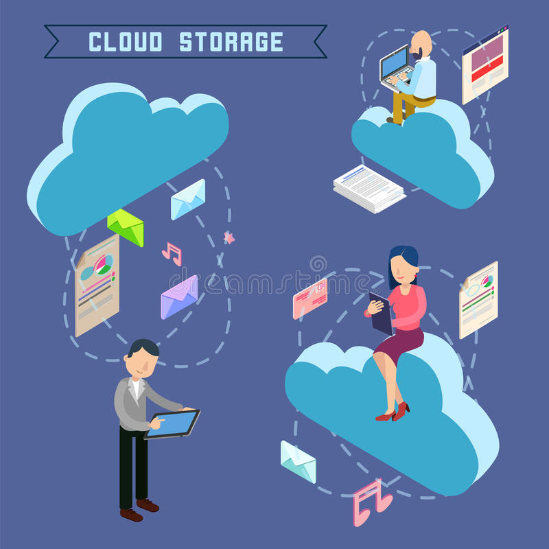 Cloud Storage Isometric Computer Technology. Cloud Storage. Isometric Computer Technology. People Uploading Files to the Repository. Vector illustration vector illustration