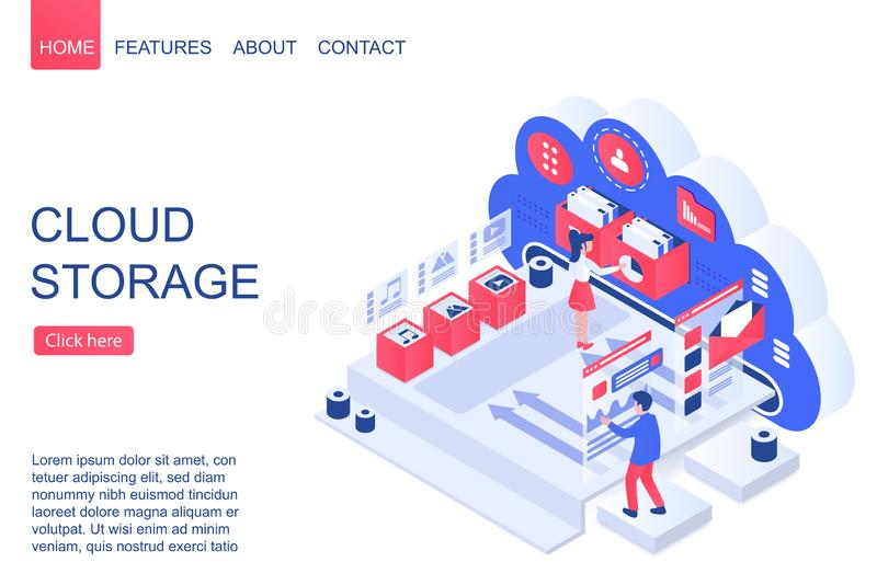 Cloud storage isometric vector landing page template vector illustration