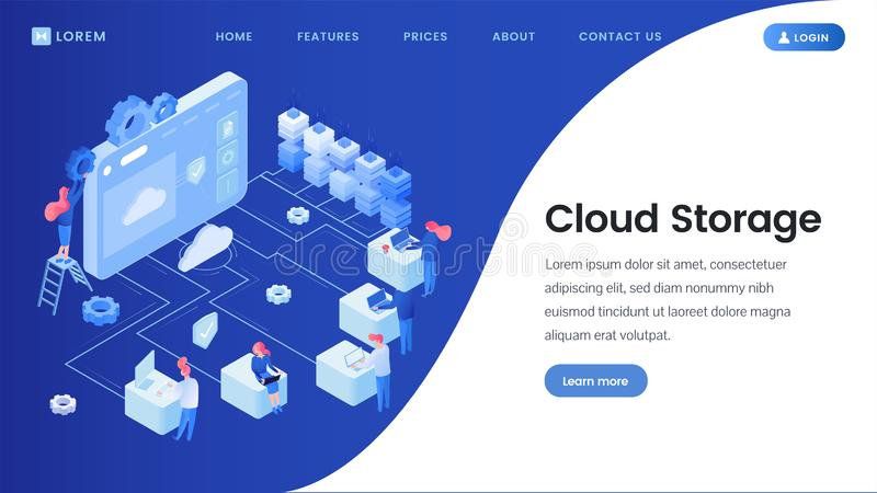 Cloud storage landing page vector template. Cyberspace, server, database isometric illustrations with site navigation, menu. Software development, web hosting royalty free illustration