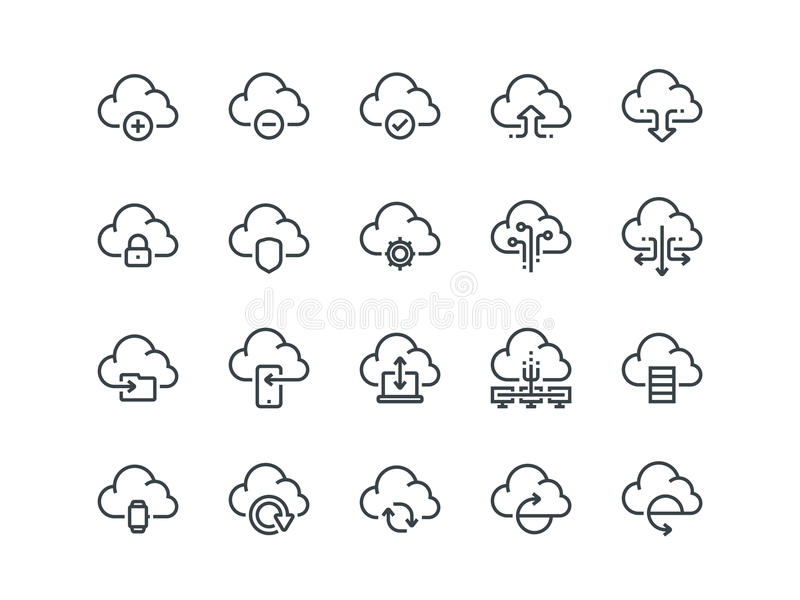 Cloud storage. Set of outline vector icons. Includes such as Data Synchronisation vector illustration