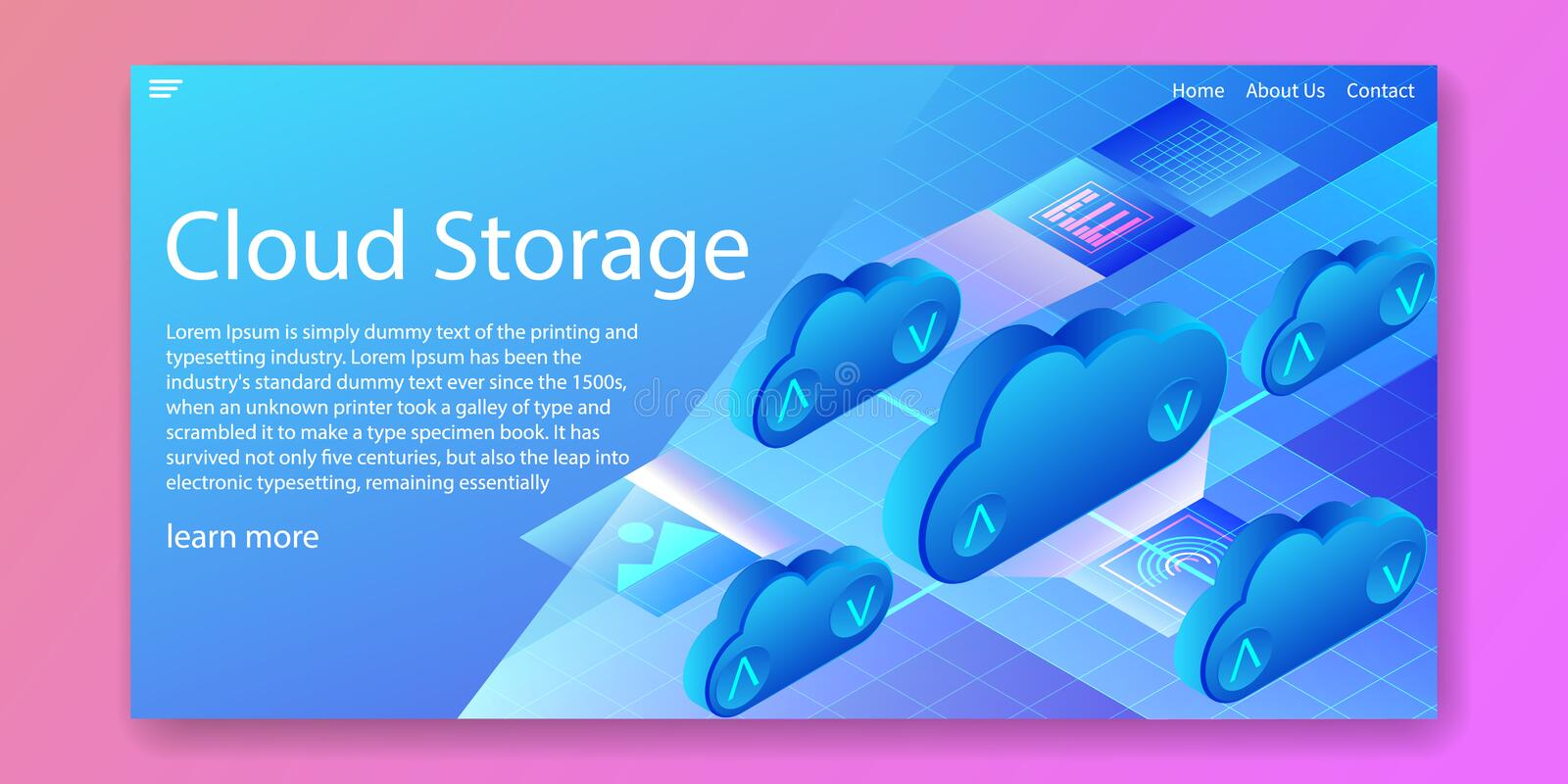 Cloud storage technology, computing data center isometric concept.Web template design.vector illustration stock photo