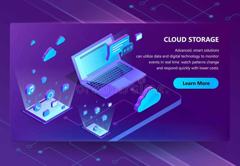 Cloud storage vector isometric concept background. Modern internet technologies, online web service for keeping digital data, files. Neon banner with modern royalty free illustration