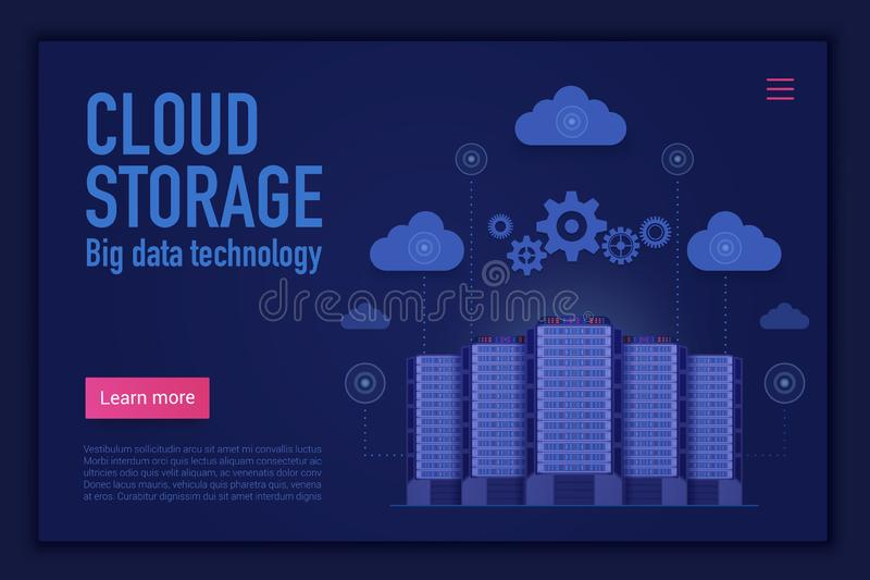 Cloud storage vector landing page template. Cloud management, computing, database and information storage website stock illustration