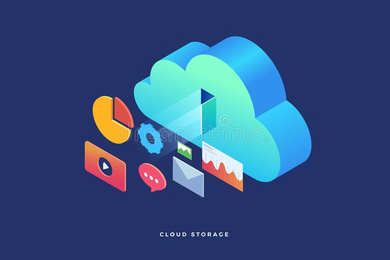 Cloud storage: web graph, chart, email, player. Infographics elements on computer devices. 3d isometric flat design. Vector illustration royalty free illustration