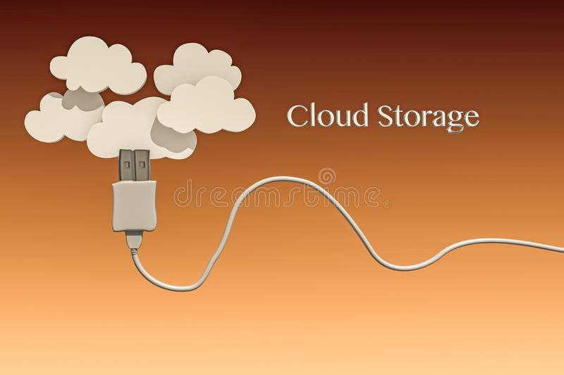 Cloud storage. White usb cable connected with clouds vector illustration