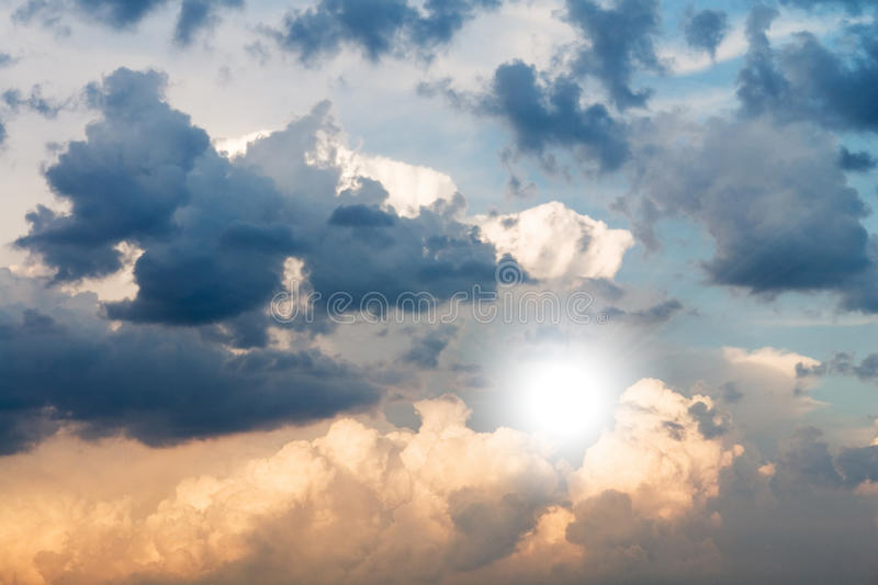 Cloud storm. Sun and thunderclouds before rain stock image