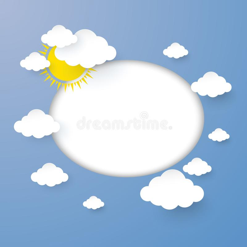 Cloud and Sun in the Blue sky with Blank Circle for you design paper art stlye. vector illustration vector illustration
