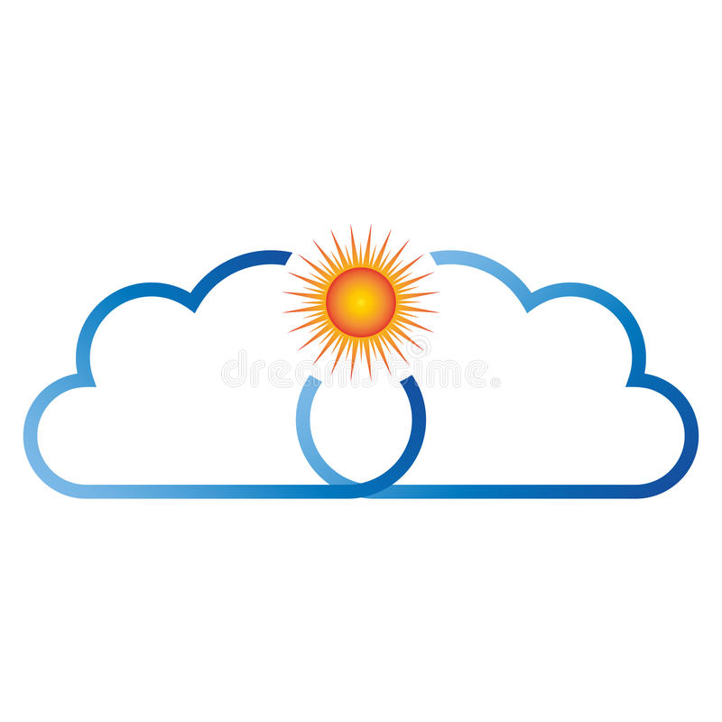 Cloud and sun, cloud and travel logo. Cloud and sun, colored, cloud and travel logo royalty free illustration