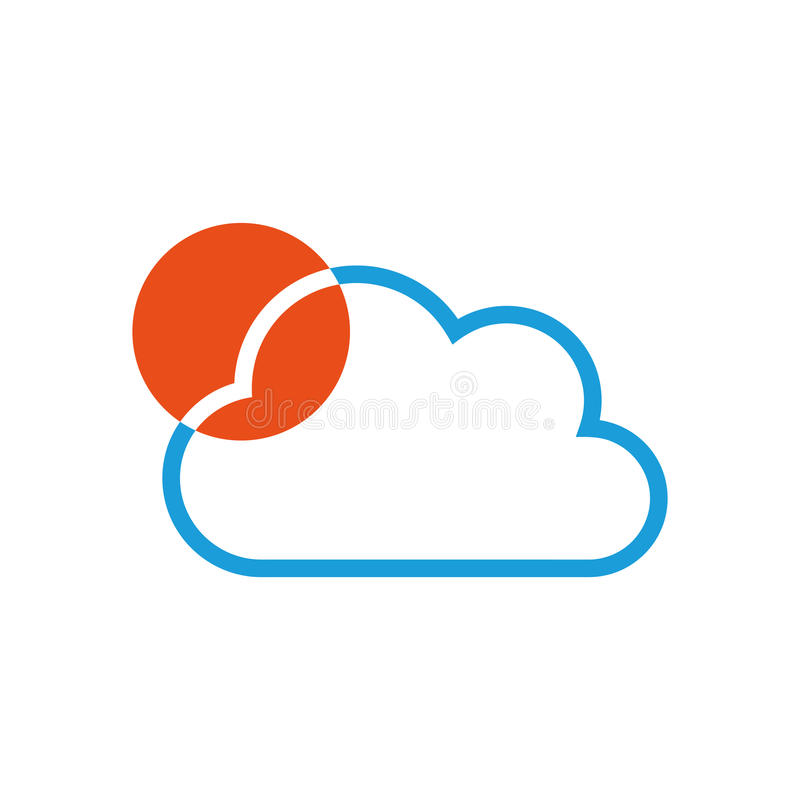 Cloud and sun, cloud and travel logo. Cloud and sun, colored, cloud and travel logo vector illustration