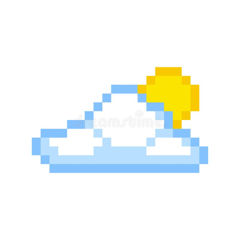 Cloud sun pixel art cartoon retro game style stock illustration