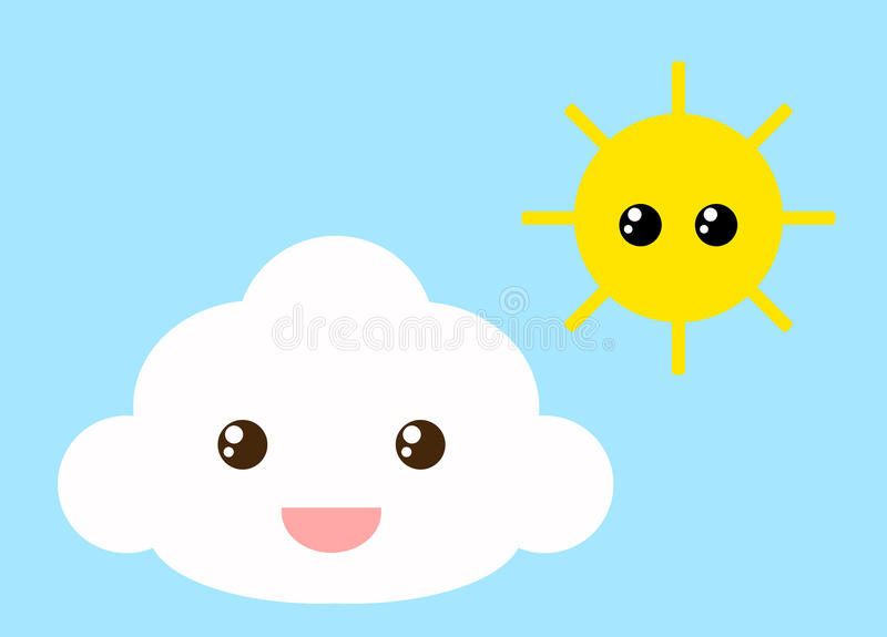 Cloud and sun stock vector. Illustration of funny, cute ...