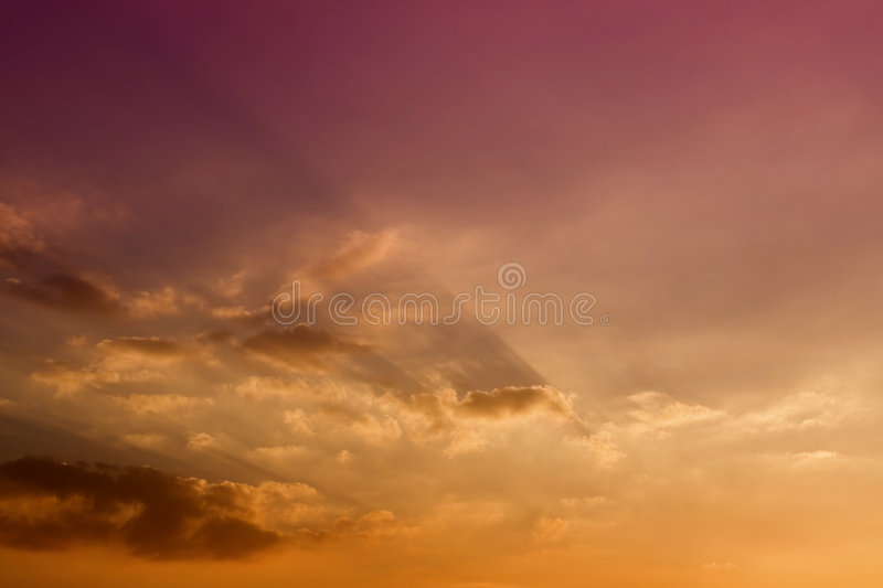 Cloud in the sunset. With magic and suggestive shadow stock photo