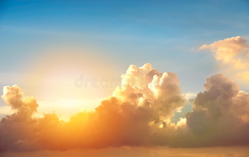 Cloud on sunset. Beautiful motion blur cloud shape on blue sky in sunset time royalty free stock image