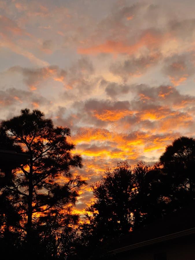 Cloud sunset sky. Low cloud sunrise sky. Peach, blue stock image