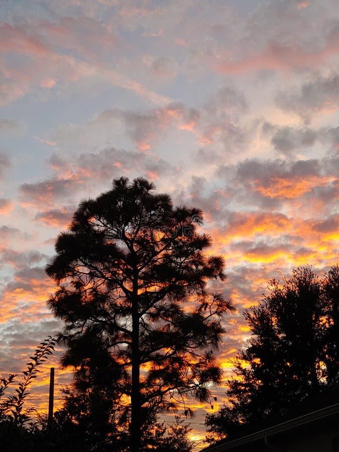 Cloud sunset sky. Low cloud sunrise sky. Peach, blue stock photo