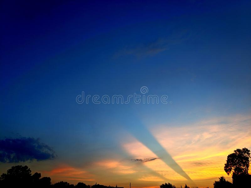 Cloud sunset. Tree, blue, flame royalty free stock images
