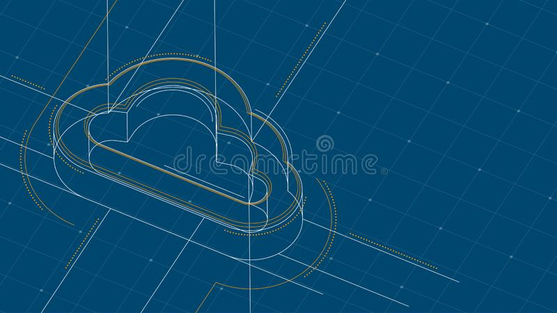 Cloud symbol isometric symbol dot and dash line frame structure pattern wireframe, Technology online storage concept illustration. Isolated on blue background vector illustration