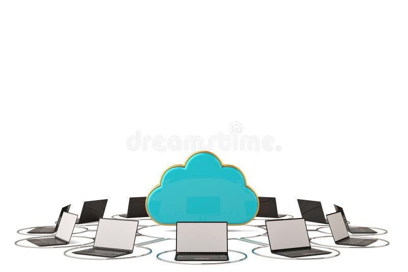 Cloud symbol and laptops.3D illustration. Cloud symbol and laptops. 3D illustration vector illustration