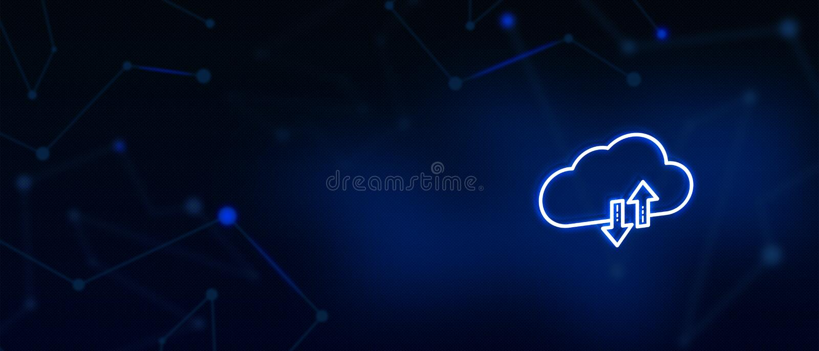 Cloud server, Cloud sync, Cloud services, Digital technology, Contact us, Landing page background cover page. Cloud sync, Cloud services, Digital technology vector illustration