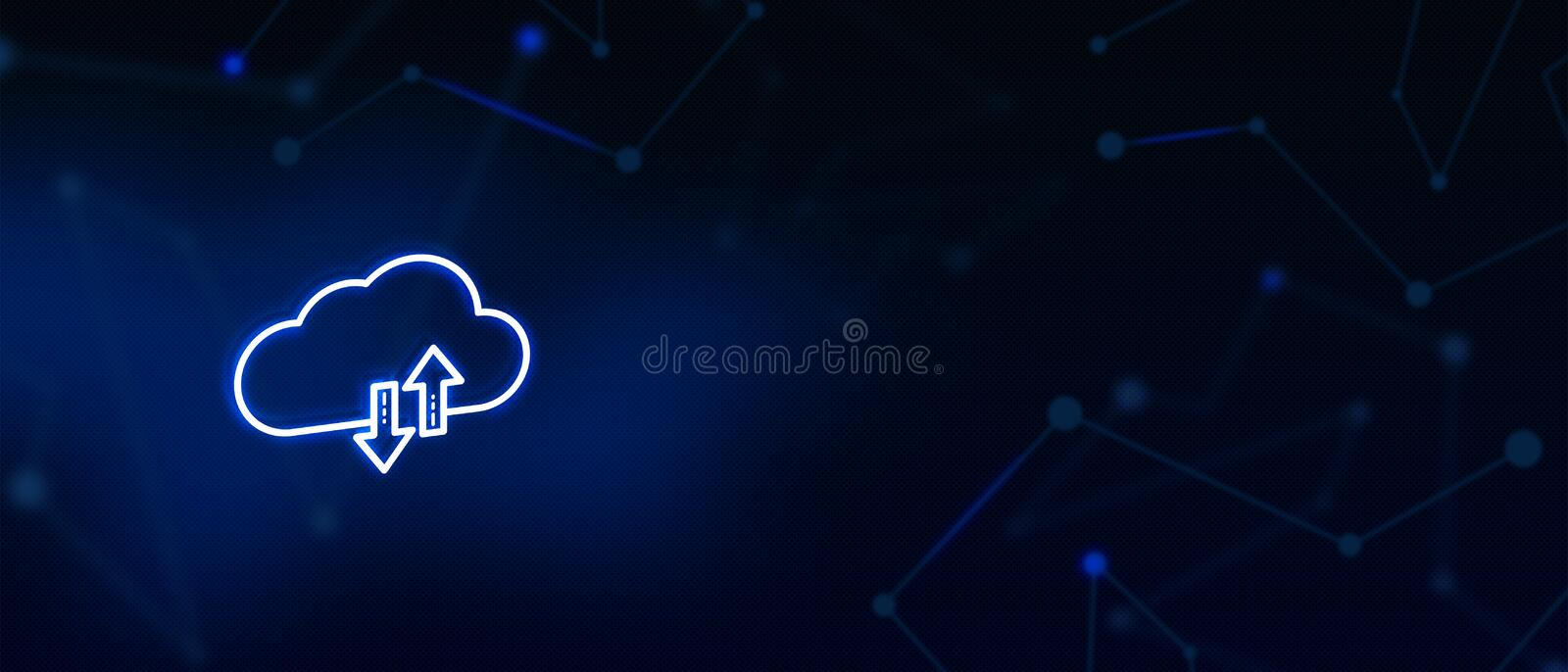 Cloud server, Cloud sync, Cloud services, Digital technology, Contact us, Landing page background cover page. Cloud sync, Cloud services, Digital technology royalty free illustration