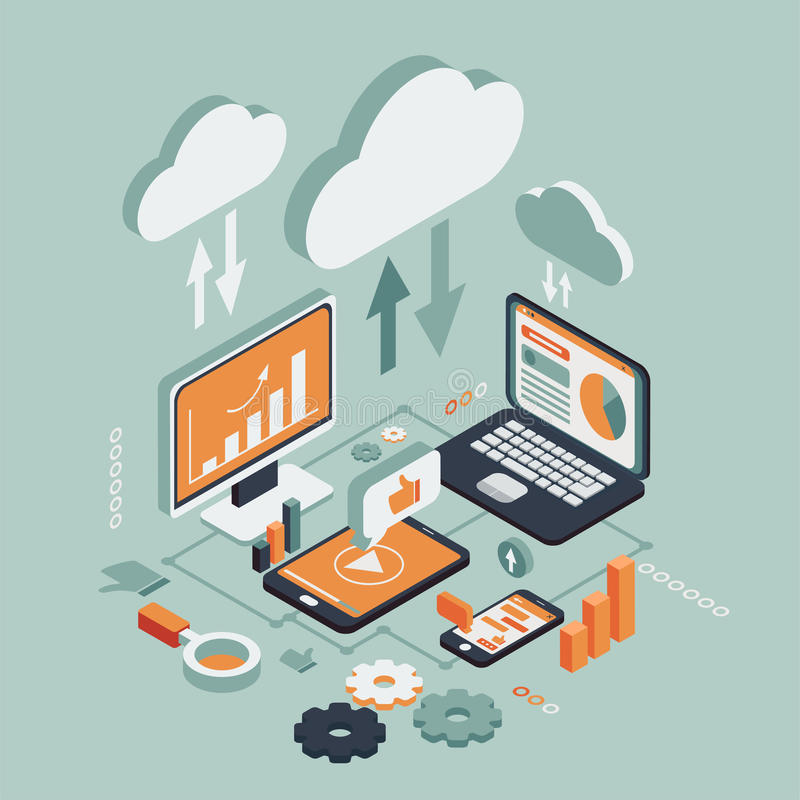 Cloud technologies isometric. Wireless technologies isometric icons set with mobile communication devices, including laptop, computer, phone, tablet. 3d vector stock illustration