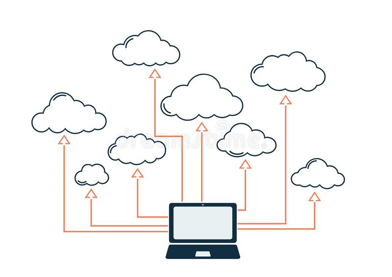 Cloud technology, computer internet and storage service. Concept of cloud technology. wireless internet and storage service vector symbol image stock illustration