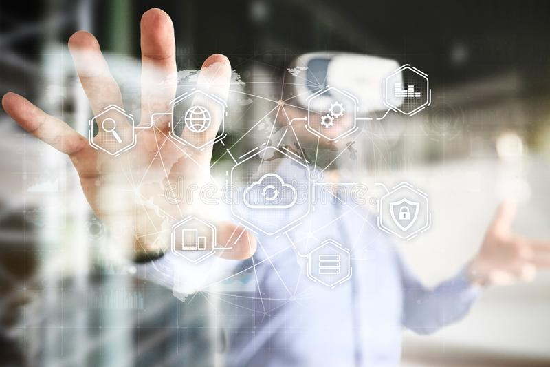Cloud technology, computing, networking concept. Remote data storage and security. Internet and technology. stock images