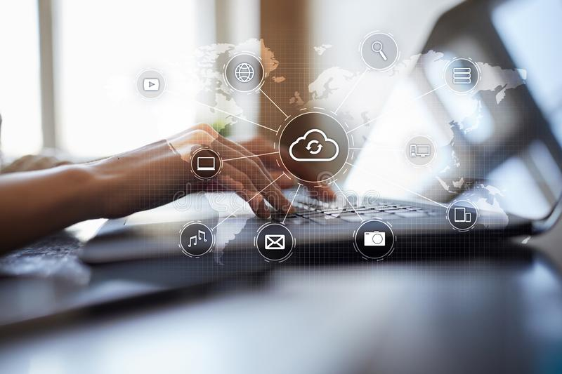 Cloud technology, computing, networking concept. Remote data storage and security. Internet and technology. Cloud technology, computing, networking concept royalty free stock images
