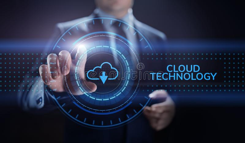 Cloud technology computing networking data storage internet concept. royalty free illustration