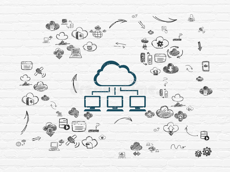 Cloud technology concept: Cloud Network on wall royalty free illustration