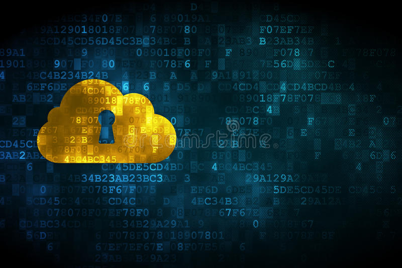 Cloud technology concept: Cloud Whis Keyhole on digital backgrou vector illustration