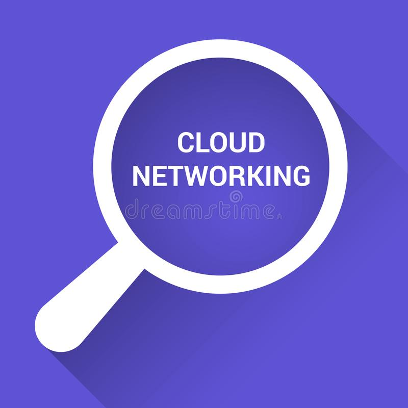 Cloud Technology Concept: Magnifying Optical Glass With Words Cloud Networking vector illustration
