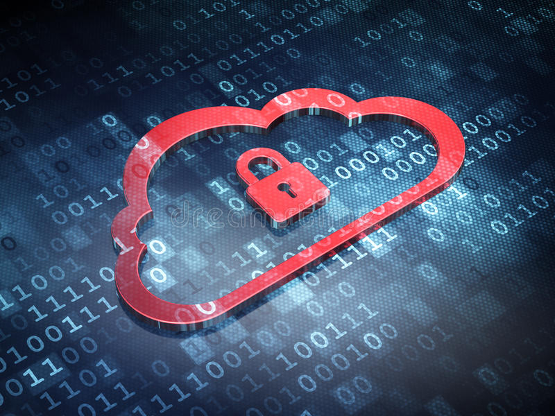 Cloud technology concept: Red Cloud Padlock royalty free stock photo