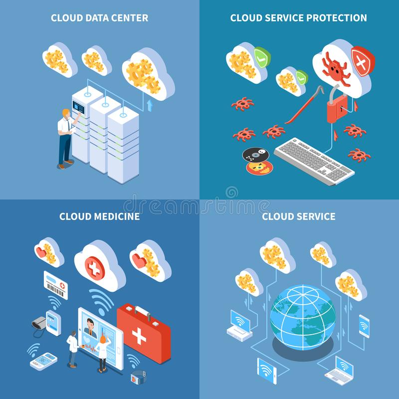 Cloud Technology Isometric Design Concept vector illustration