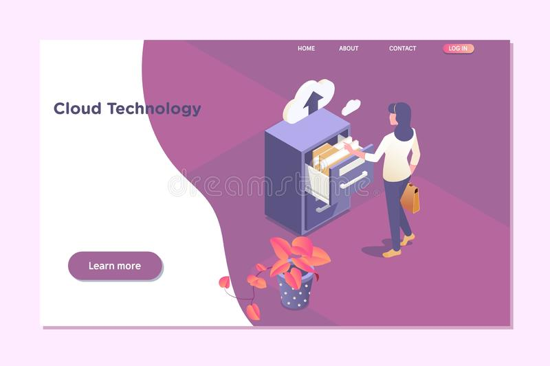 Cloud technology data.Online Computing Hosting 3D isometry concept. vector illustration