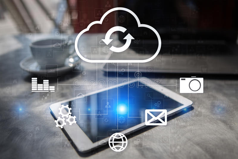 Cloud technology. Data storage. Networking and internet service concept. royalty free stock image