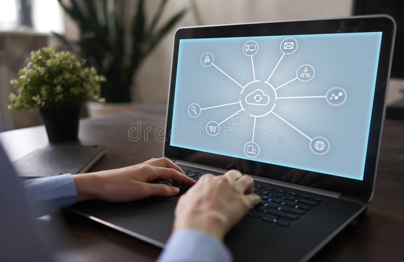 Cloud technology. Data storage. Networking and internet service concept. Cloud technology. Data storage. Networking and internet service concept stock image