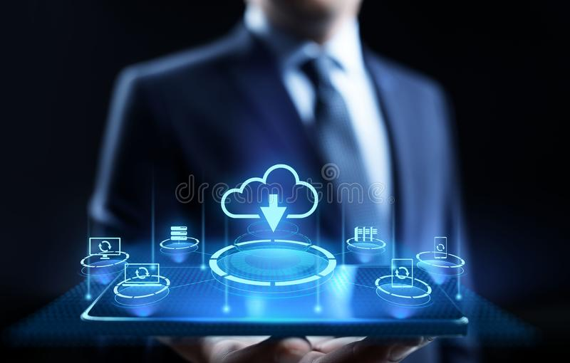 Cloud technology data storage processing computing Internet concept. Businessman pressing button on screen. stock illustration