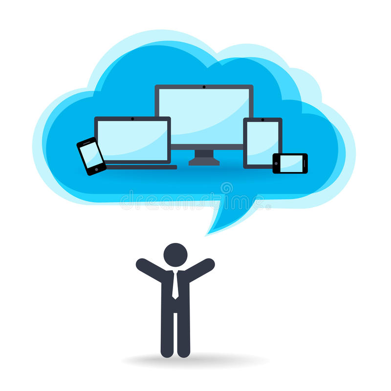 Cloud technology for different devices stock illustration