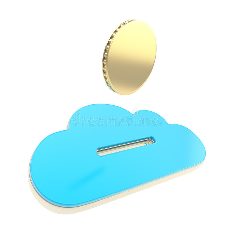 Cloud technology donation coin payment emblem. Cloud technology donation coin subscription payment glossy blue emblem icon isolated on white stock illustration