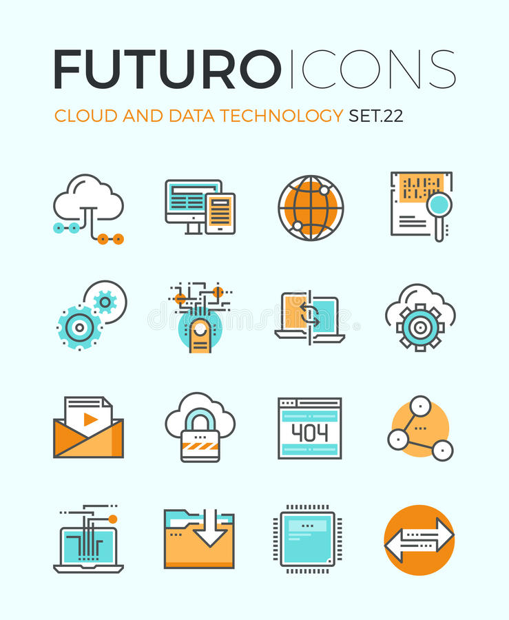 Cloud technology futuro line icons. Line icons with flat design elements of cloud computing technology, big data analysis, global network connection, computer