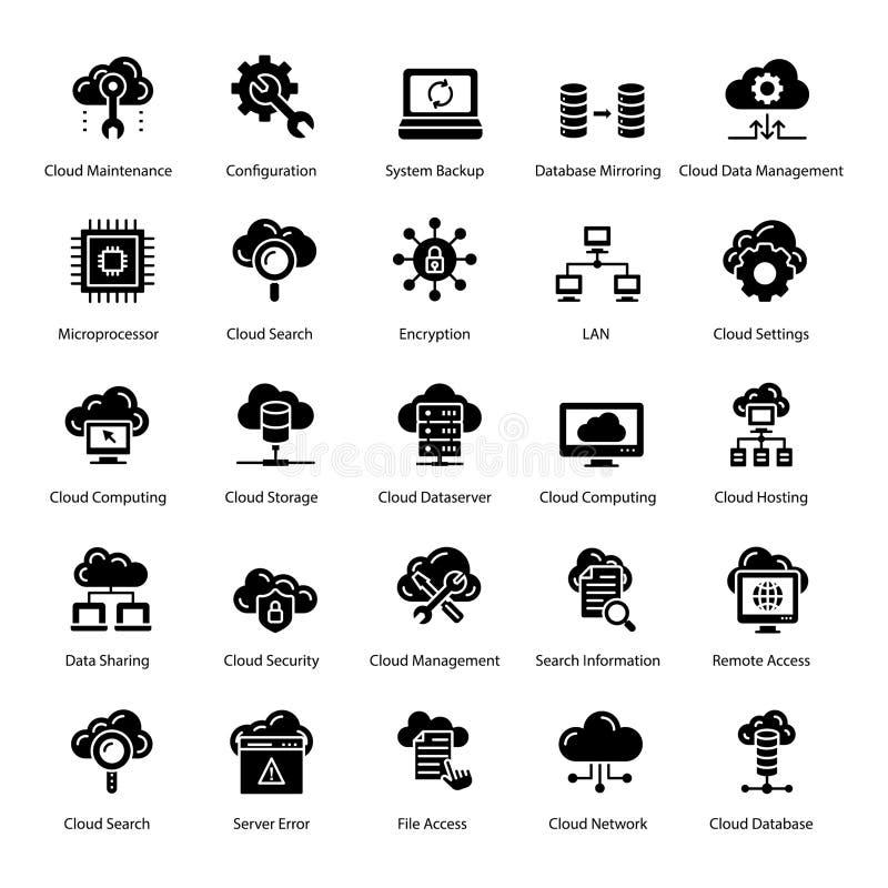 Cloud Technology Glyph Icons Pack royaltyfri illustrationer