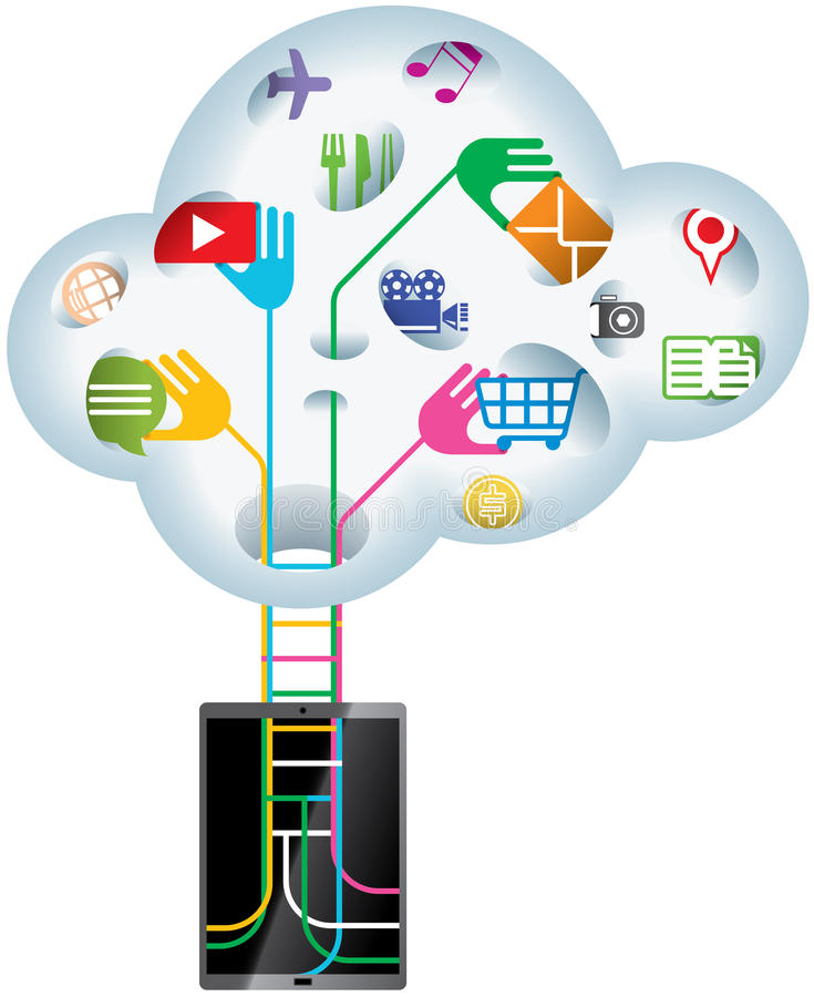 Cloud technology. IDEA - handheld device searching data information from Cloud technology stock illustration
