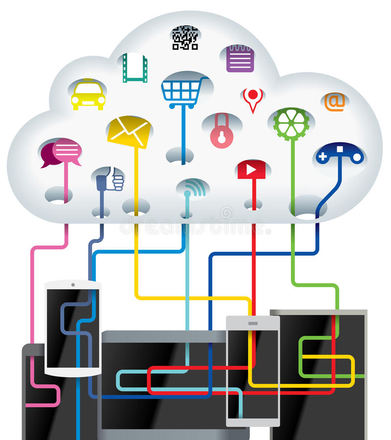 Cloud technology. IDEA - handheld device searching data information from Cloud technology royalty free illustration
