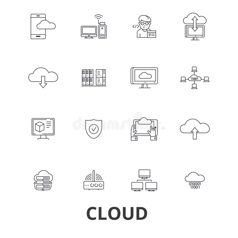Cloud technology related icons royalty free illustration
