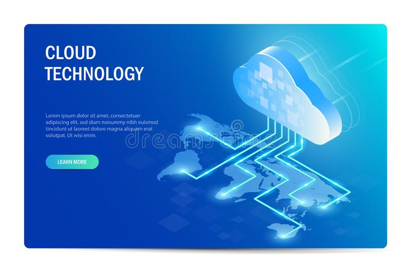 Cloud Technology Isometric Concept. distribution of information technology around the world. World map. Web site stock illustration